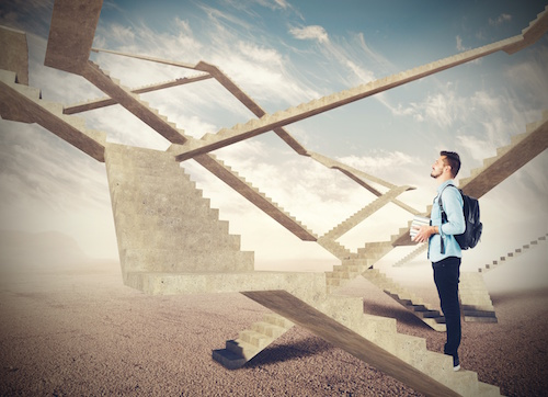 Student watching the endless stairs of future
