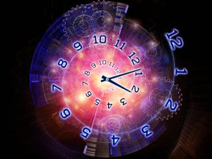Interplay of clock hands, gears, lights and abstract design elements on the subject of time sensitive issues, deadlines, scheduling, temporal processes, past, present and future
